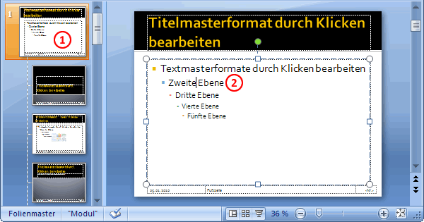 Masterfolien Hierarchie in PowerPoint 2007