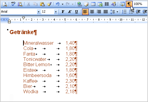 how to get tab stops in word