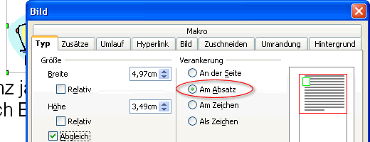 Register Typ des Dialogfensters Bild in OpenOffice Writer